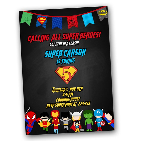 Superhero Chalkboard Invitation FAST Customized Same Day