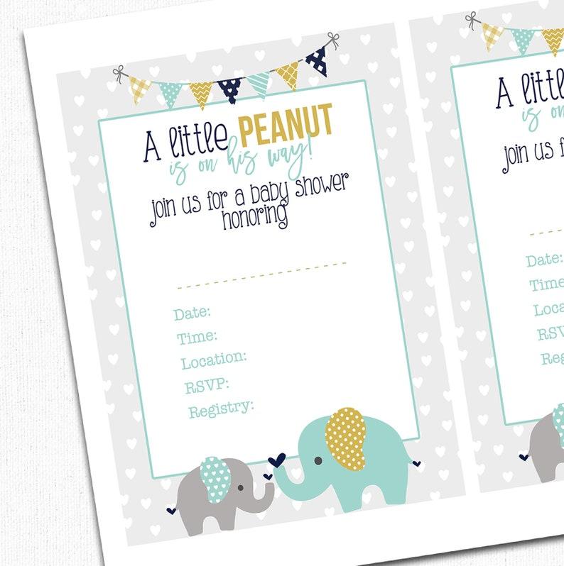 Elephant Baby Shower Invitation Printable Blank File Mint Etsy