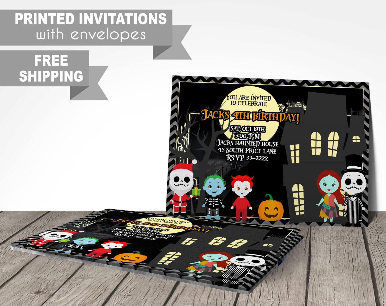 nightmare before christmas invitation printed invitations | Etsy