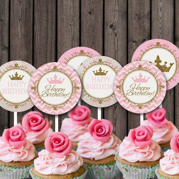 Princess Cupcake Toppers Party Supplies Pink And