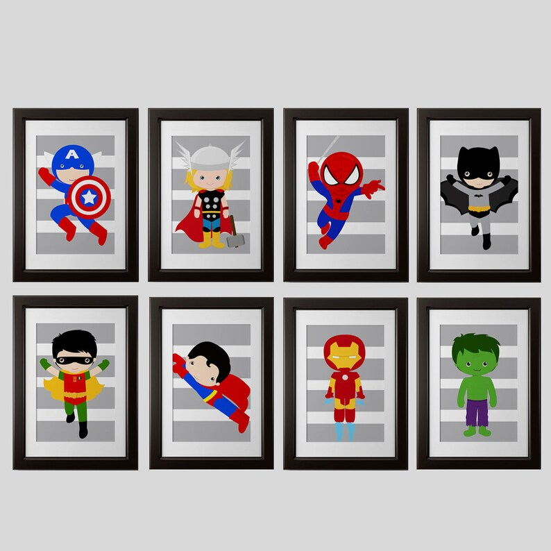 Superhero Bedroom Decor | Superhero Bedroom Wall Decor Prints Gray Stripes Or Any Etsy