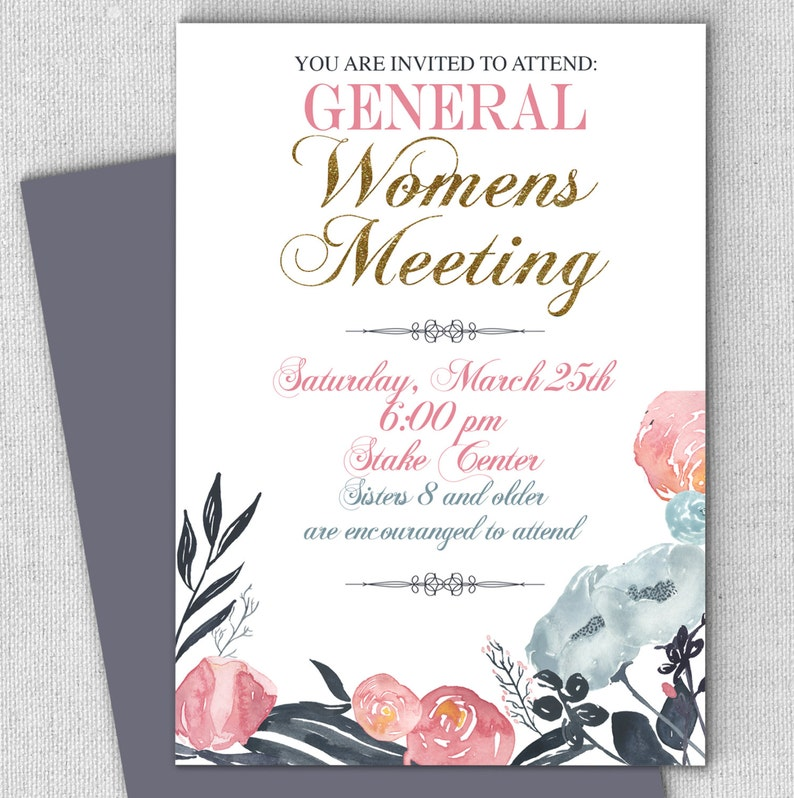 Relief Society Invitation General Meeting Invitation Floral Etsy
