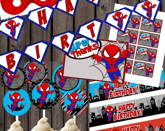 Spiderman party package, spiderman cupcakes, spiderman tags, spiderman banner,  INSTANT DOWNLOAD party package digital file downloads