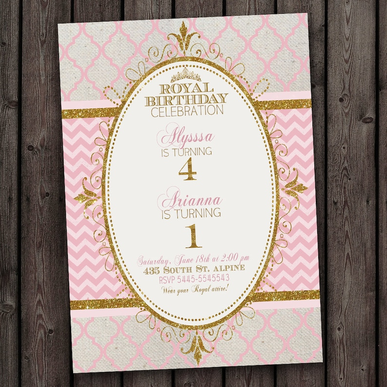 Royal Princess Party Invitation Double Kids Two Girls