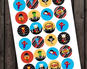 superhero kisses stickers PRINTABLE digital file, round images are 1.75 centimeters each.