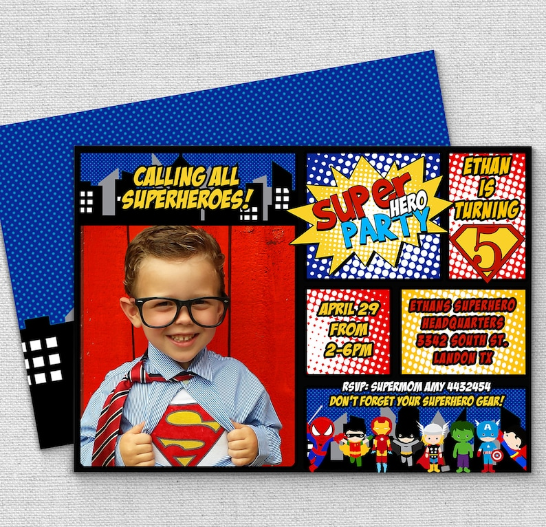 Superhero Birthday Invitation FAST Customization Custom
