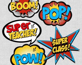 Teacher Superhero Wall Decor Printables Instant Download At Purchase Supehero Boom Pop Pow Comic Cut Outs Classroom