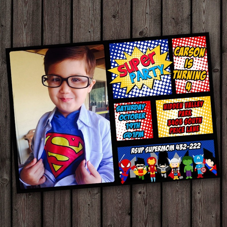 Superhero Invitations FAST Ship Free Customized Wording Included Same Day Cus