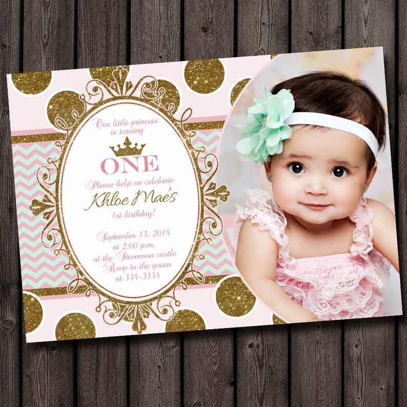 First Birthday Invitation Pink And Gold Gray Shabby