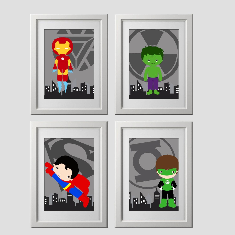 Superhelden-Wand-Kunst-Drucke Satz von 4 Superheld