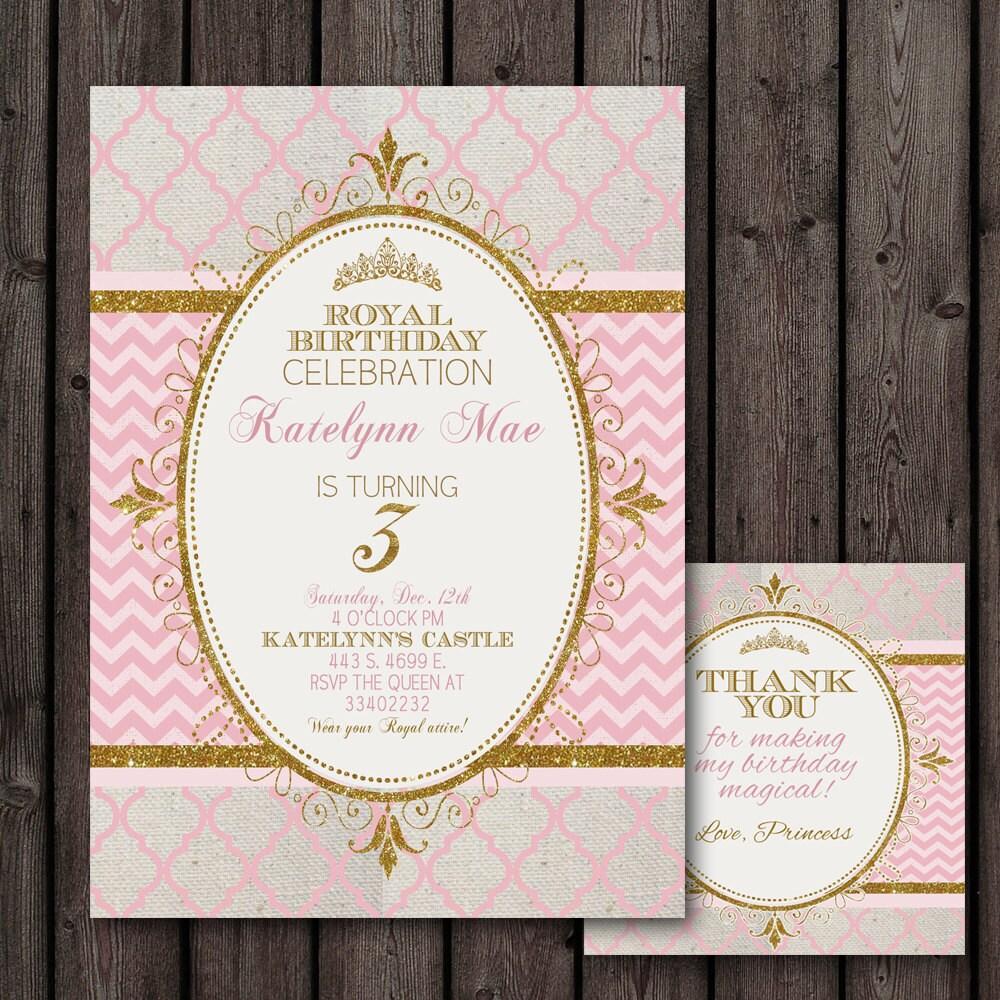 princess invitation pink gold customized wording free | Etsy