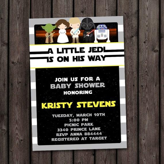 Star Wars Baby Shower Invitation Starwars Invitation Star Etsy