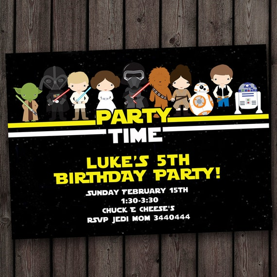 star wars invitation star wars birthday invitations fast etsy