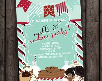 fast ship, milk and cookie party invitation, milk and cookies invitation, holiday party invitation, christmas party, cookie party, red mint