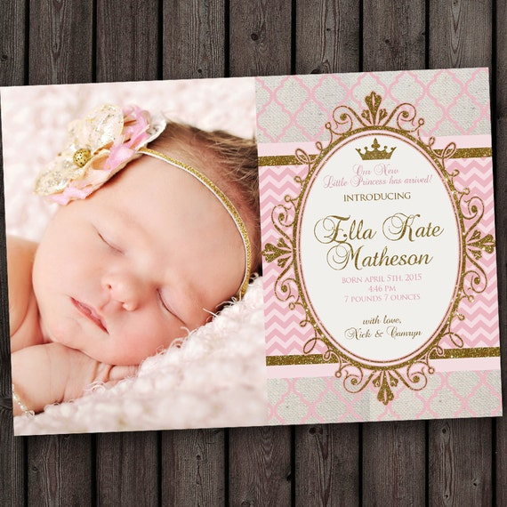 Royal Princess Baby Girl Baby Announcement With FREE