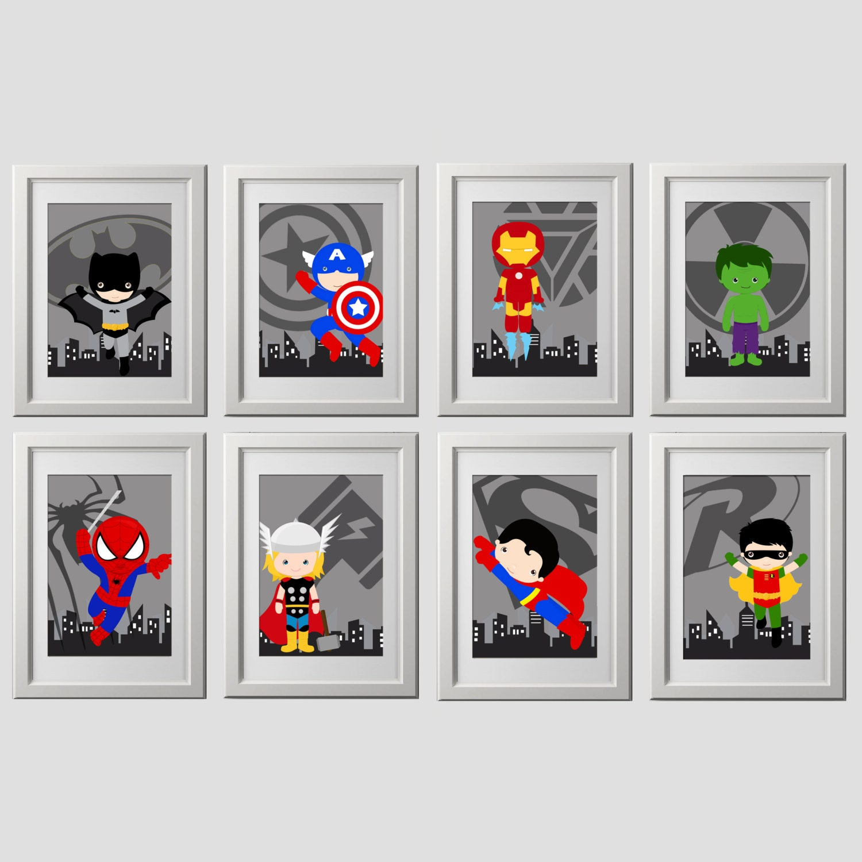 Superhelden-Wand-Kunst Drucke set von 8 super Held