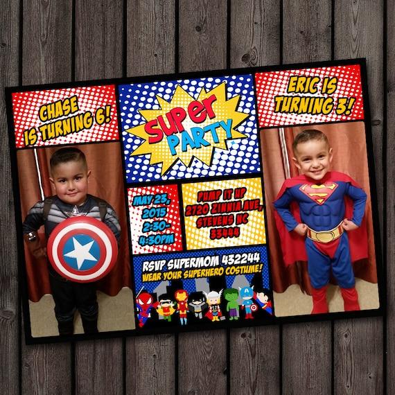 Superhero Invitation Custom Picture