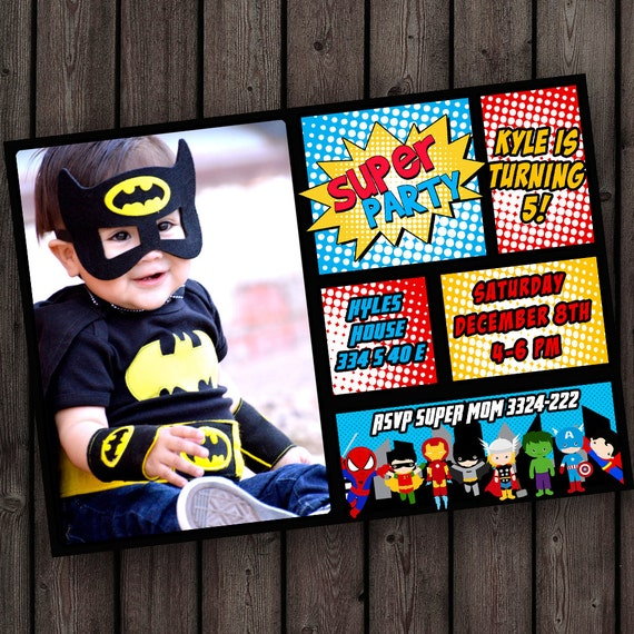 superhero birthday invitation super hero party invitation etsy