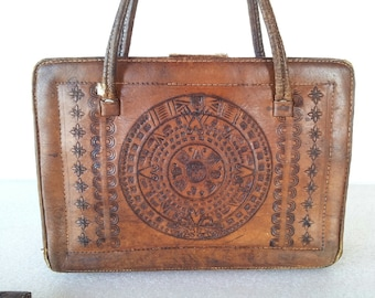 2380ef4ced34 50s Cur. de Mexico de Monterrey S.A. Tooled Genuine Leather Handbag   Purse    Ideal   sun calendar   aztec   carved   matador