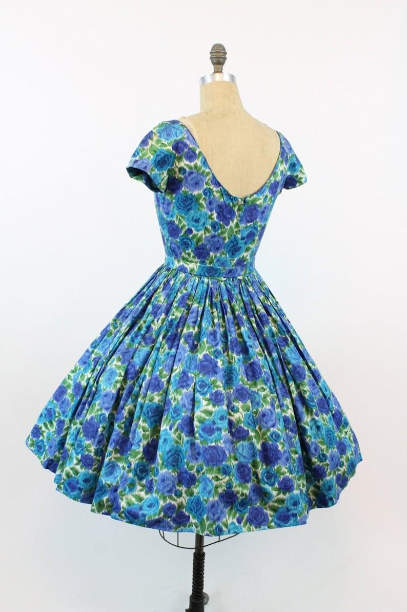 50s Dress Floral Cotton Small  1950s Vintage Full Skirt Sundress  In Full Bloom Dress