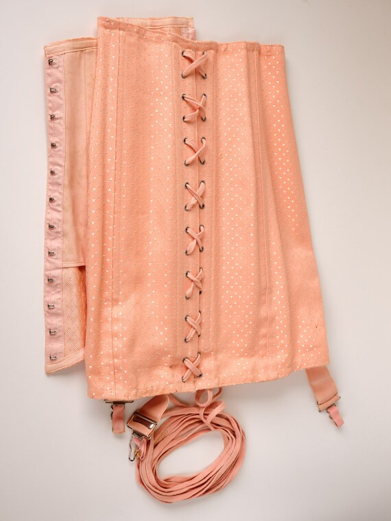 Vintage  40s French pink damask   lace up girdle c