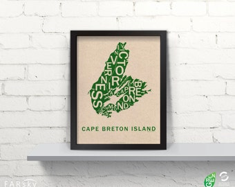 Far Sky Cape Breton Island Typographic Map
