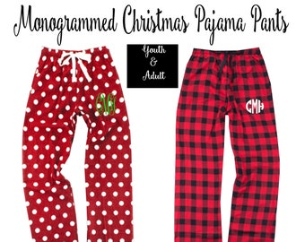 Personalized polka dot pj set  polka dot pajama pants  monogrammed pajama shirt  polka dot lounge pants  sleep pants and shirt  navy