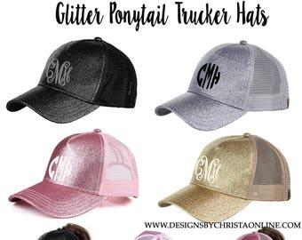 47d5b962a14 Monogrammed Glitter Ponytail Trucker Hats