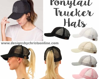 aab71f937f0 Ponytail Trucker Hats   Messy Bun Hat   Trucker Hat   High Pony Tail Hat