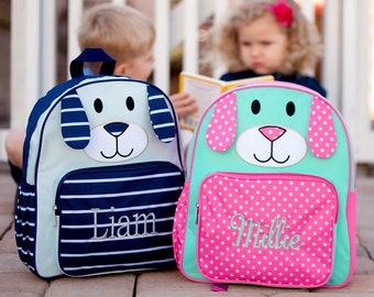 Preschool Backpack   Monogrammed Backpack   Personalized Backpack   Embroidered  Backpack   Backpack with Initials   Back to School   Puppy 00c00d94ee815