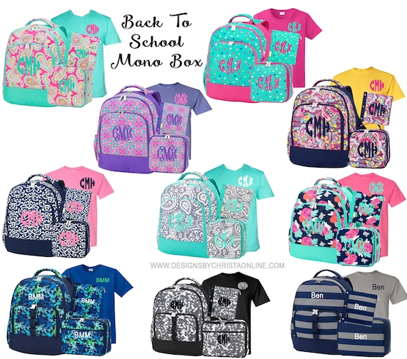 Monogrammed Backpack Set  Back to School Mono Box  Monogram Backpack