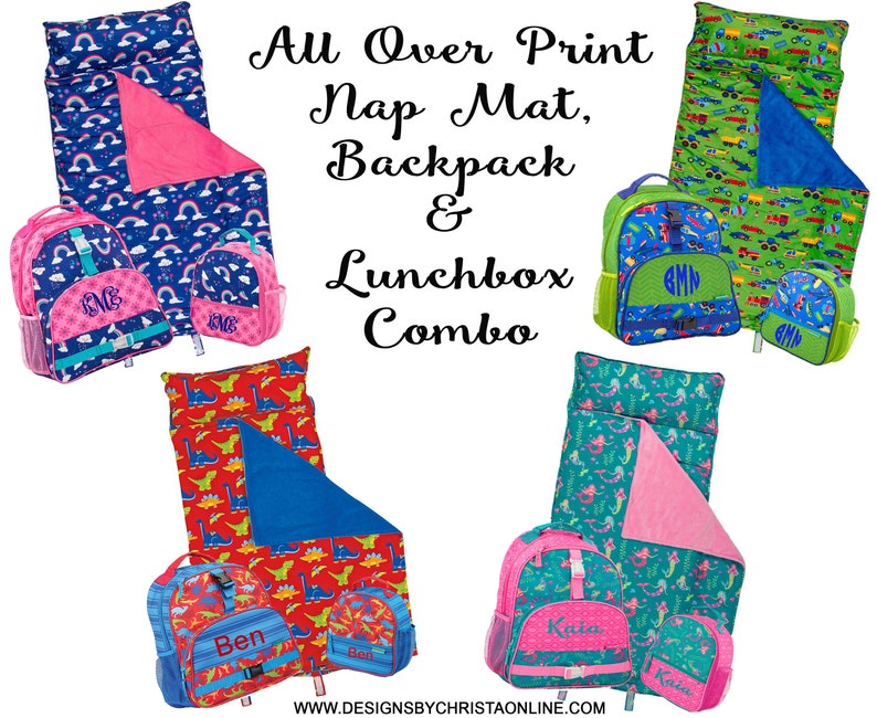 f6a0a7c52c7 Personalized Stephen Joseph Backpack Lunchbox and Nap mat set