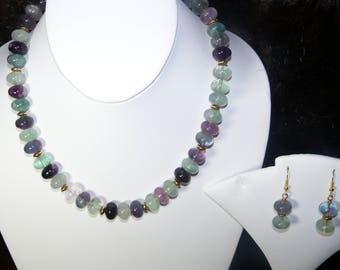 A Lovely Fluorite Necklace and Earrings. (2017214)