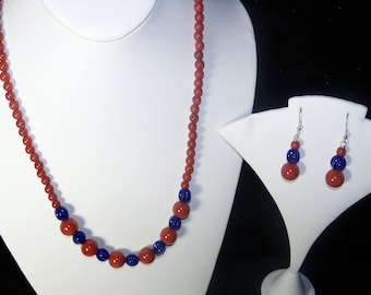 A Lovely Red Jasper Necklace and Earrings. (2017247)