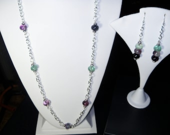 A Lovely Fluorite Necklace and Earrings. (2017213)