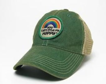 9ab38c89399 You Can t Steal My Happy Retro Rainbow Trucker Hat