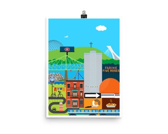 """Montreal Patchwork Poster 12"""" x 16"""""""