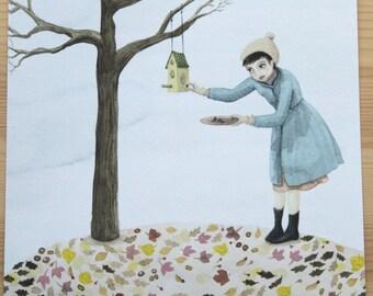 Thanksgiving Illustration, Thanksgiving gift, Fall art, Birdhouse illustration, Feed the birds, Bird Watching, Bird House, Mother gift