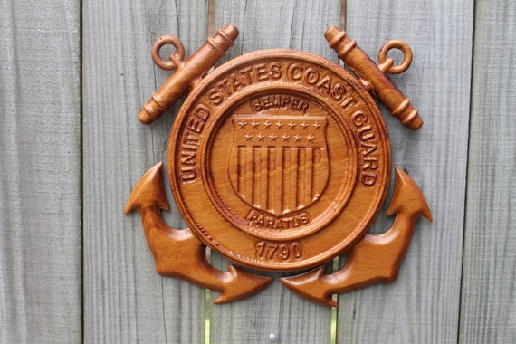 coast guard, Coast Guard gifts, 5th anniversary gift wood, Coast Guard Emblem, Carved  wood emblem,  chief petty officer,  (roughly 11 in)