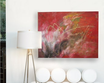 ON THE MARK - Acrylic on Canvas - 22x28 Red, Black, Gold, White, Abstract Painting by Hosanna Pruitt - Komorebi Art