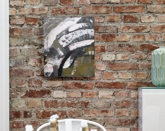 Rings - Abstract Acrylic Painting, Green, White, Black, by Hosanna Pruitt - Komorebi Art
