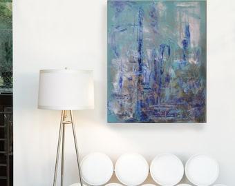FORECAST - Acrylic Abstract Painting, 24x30. Blue, Teal, Aqua, Gold, Art by Hosanna Pruitt - Komorebi Art