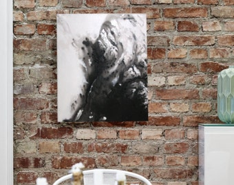 Diffusion - Black and White Acrylic Abstract Painting by Hosanna Pruitt - 16x20 - Komorebi Art - KomorebiArt