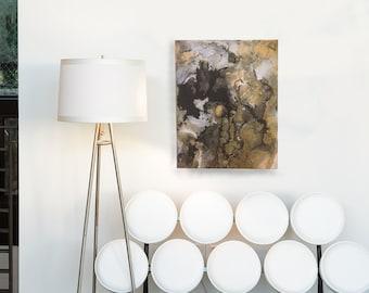Because of Time - Acrylic and Spray Paint on Canvas - Abstract Art, Gold, Black, by Hosanna Pruitt, Komorebi Art, KomorebiArt