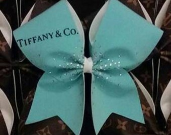 Iconic Blue Cheer Bow with handplaced rhinestones