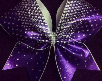 Stunning Purple Hand-placed Rhinestone Cheer Bow