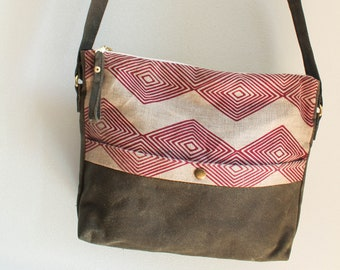Satchel. Vegan cross body bag. Waxed canvas bag. Geometric print cross body bag. Earth conscious accessory.