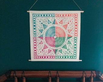 Sun and Moon Wall Hanging. Seasons. Canvas wall hanging. Blockprinted decor. Home decor. nature inspired art.