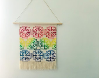 Fringed Wall Hanging. Canvas wall hanging. Blockprinted decor. Home decor. Rainbow decor. Colorful Banners.