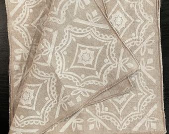 Geometric  Linen Napkins. Casual napkins. zero waste. eco friendly living. block printed. eco friendly home. reusable lifestyle.